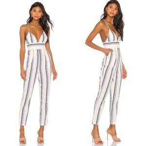 Superdown Evaline Striped Cotton Jumpsuit